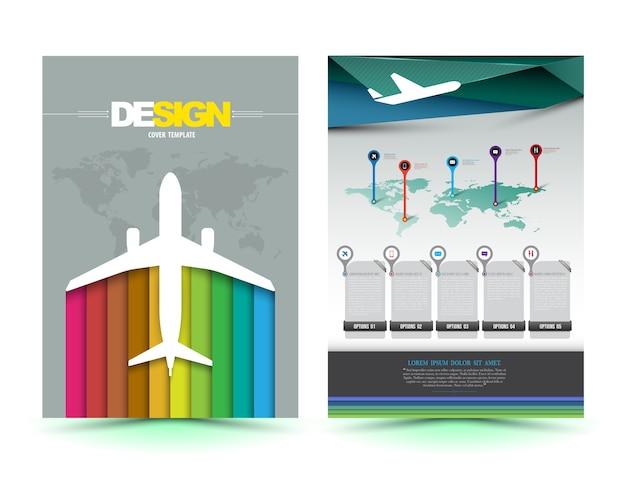 Vector vliegtuig brochure sjabloonontwerp