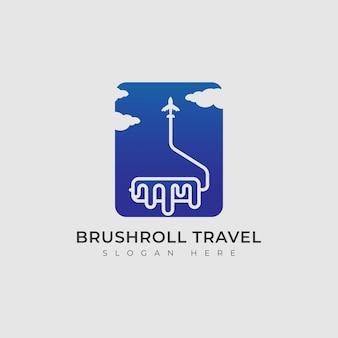 Vector vliegtuig en borstel roll logo combinatie ontwerpsjabloon