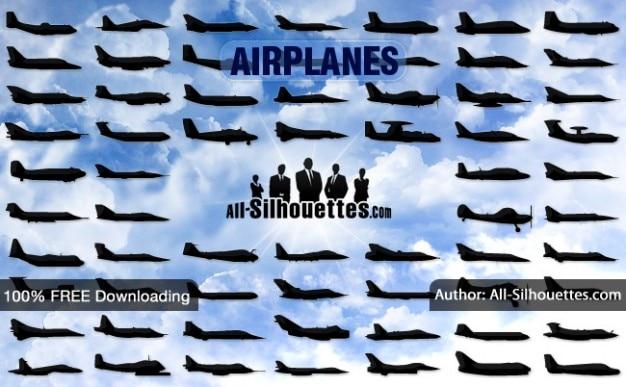 Vector vliegtuigen zijaanzicht | all silhouetten