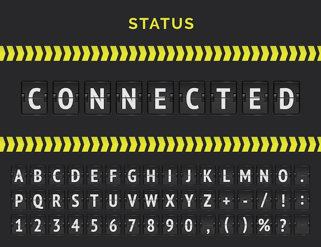 Vector vlucht info bord van vluchten status als verbonden. mechanische luchthaven flip board lettertype