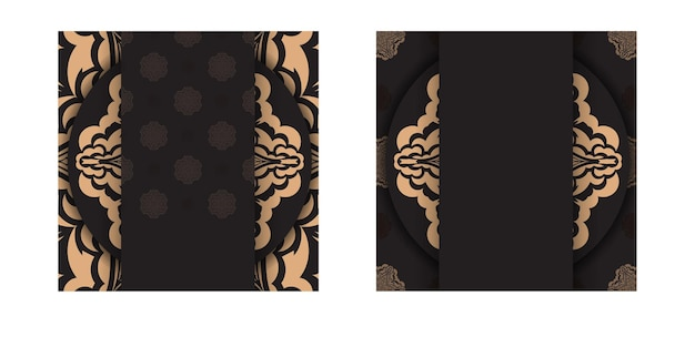 Vector voorbereiding van uitnodigingskaart met plaats voor uw tekst en vintage patronen. vierkante sjabloon voor ansichtkaarten met printontwerp in zwarte kleur met luxe patronen.