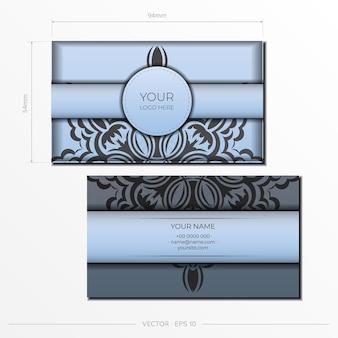 Vector voorbereiding van visitekaartjes in blauwe kleur met luxe zwarte patronen. sjabloon voor afdrukontwerp visitekaartje met vintage ornament.