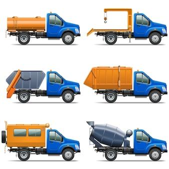 Vector vrachtwagen icons set 5 geïsoleerd op een witte achtergrond