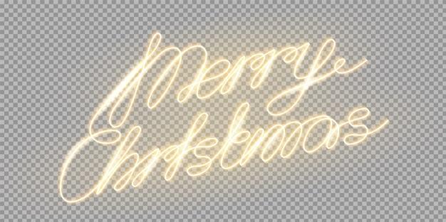 Vector vrolijk kerstfeest gloeiende letters