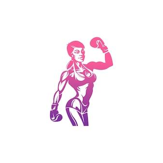 Vector vrouw boksen