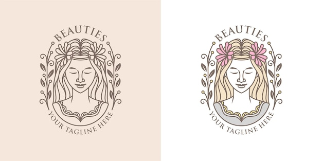 Vector vrouw schoonheid logo sjabloon