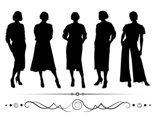 Vector vrouwelijke silhouetten met scheidingslijnen zwart op witte achtergrond