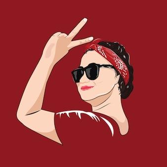 Vector vrouwen lady hoofddoek bandana