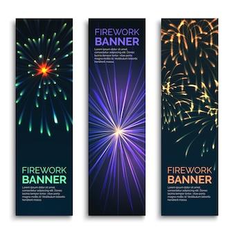 Vector vuurwerk verticale banners instellen. kaartviering, explosie en gelukkige carnavalillustratie