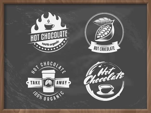 Vector warme chocolademelk logo's.