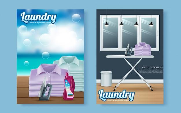 Vector wasserij service flyer tijdschriftdekking, poster sjabloon