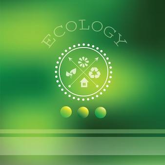 Vector wazig landschap - ecologie label, uitzicht op de natuur