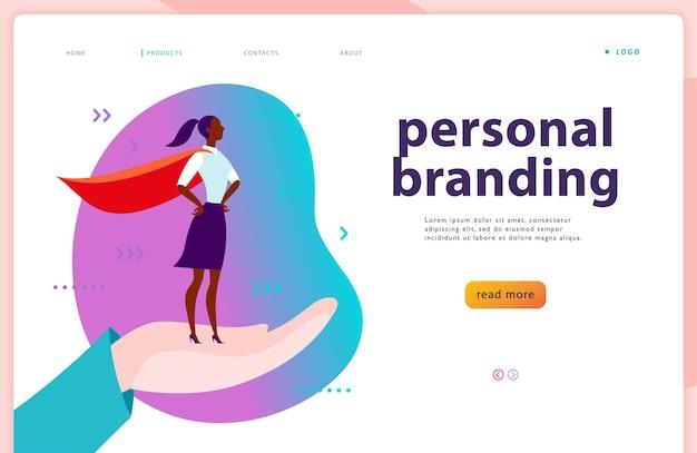 Vector webpaginasjabloon - persoonlijke branding, zakelijke communicatie, consulting, planning. ontwerp van bestemmingspagina's. zakelijke dame die zich als superheld op menselijke hand bevindt. webbanner, illustratie van mobiele app