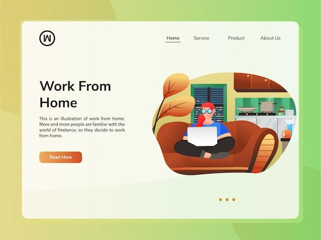 Vector website ontwerpsjabloon. concept van thuis werken