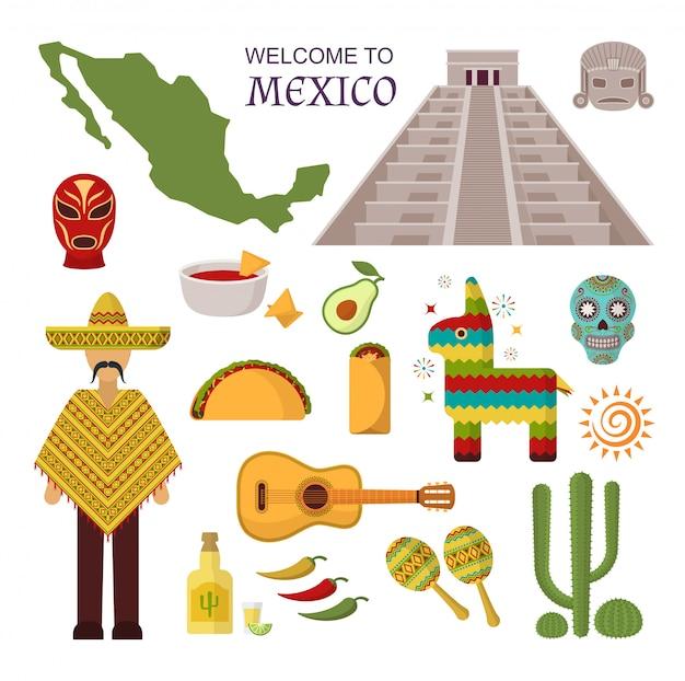 Vector welkom bij mexico set