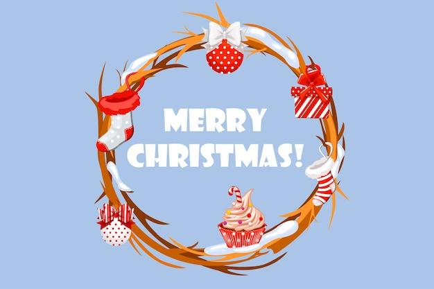 Vector wenskaart cirkel van twijgen met kerst attributen sok cadeau cupcake en ballen