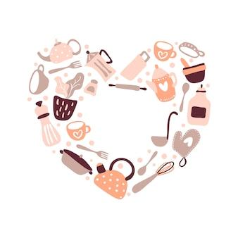 Vector wenskaart liefde frame met plaats voor tekst voor food blog keuken in de vorm van een hart