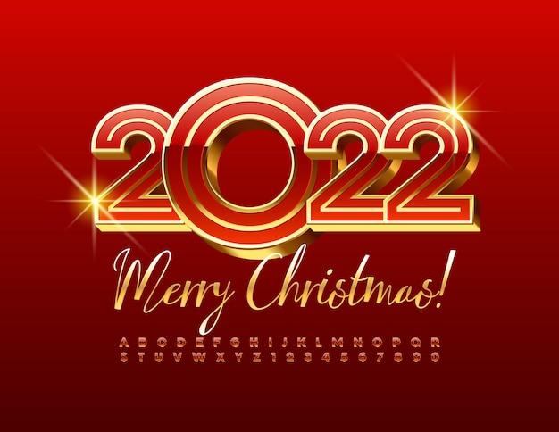 Vector wenskaart merry christmas 2022 creatieve rode en gouden alfabetletters en cijfers set