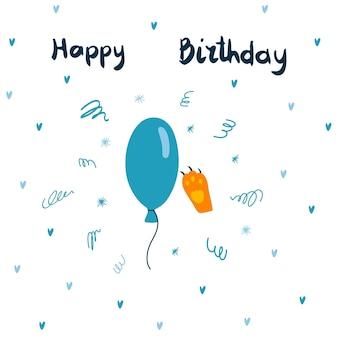 Vector wenskaart met blauwe ballon en gember kat poot en handgetekende letters