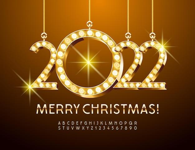 Vector wenskaart vrolijk kerstfeest met lamp decoratie elite gouden alfabetletters en cijfers