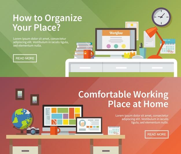 Vector werkplek webbanners