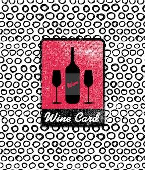 Vector wijnkaart pictogram, logo, menudekking. wijnkaarthoes voor kooi, bar, restaurant