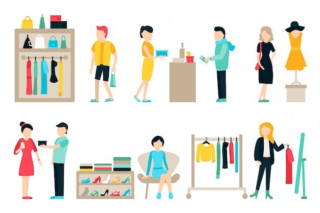 Vector winkelen en verzenden van plat pictogrammen instellen