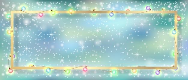 Vector winter achtergrond. garland en gouden frame.
