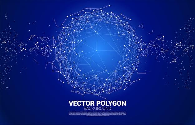 Vector wireframe veelhoekige lijnen verbind punt geometrische bolachtergrond.