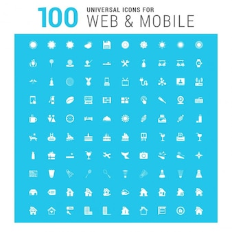 Vector wit 100 universal web icons set op blauw