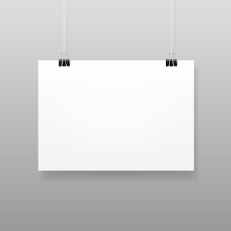 Vector wit blanco papier muuraffiche mockup template frame design