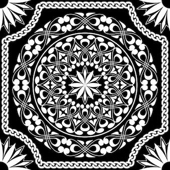 Vector wit patroon van spiralen, wervelingen en kettingen