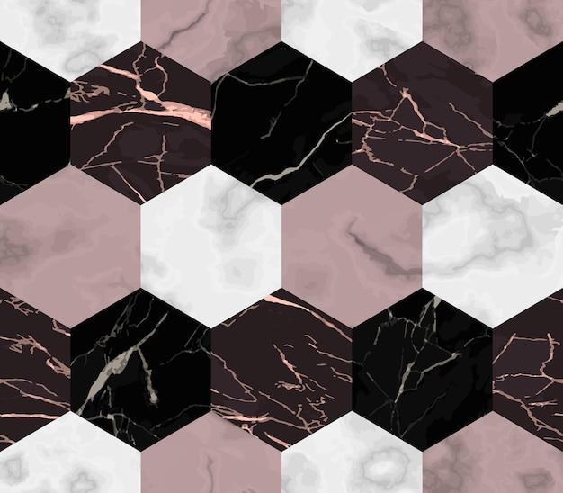 Vector wit roze en zwart zeshoek marmeren naadloze patroon herhaal marmering oppervlak