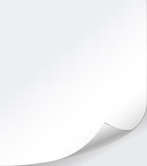 Vector witboek achtergrond met gekrulde hoek