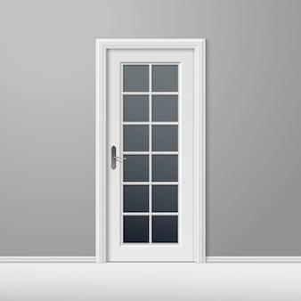 Vector witte gesloten deur met frame