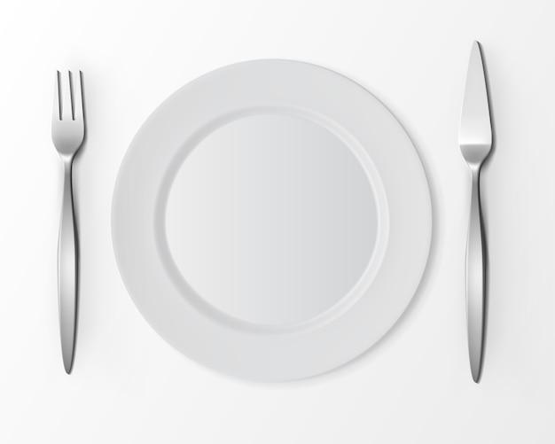 Vector witte lege platte ronde plaat met visvork en vismes
