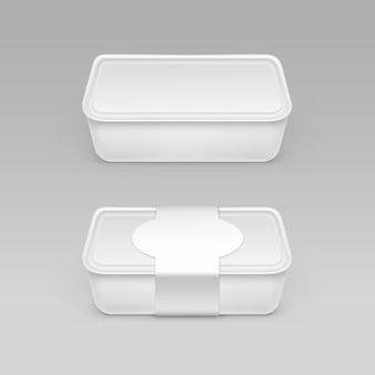 Vector witte lege voedsel plastic doos container