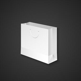 Vector witte mock up papieren lege boodschappentas met touw handvat illustratie realistisch met schaduw sjabloonontwerp geïsoleerd op donkere achtergrond