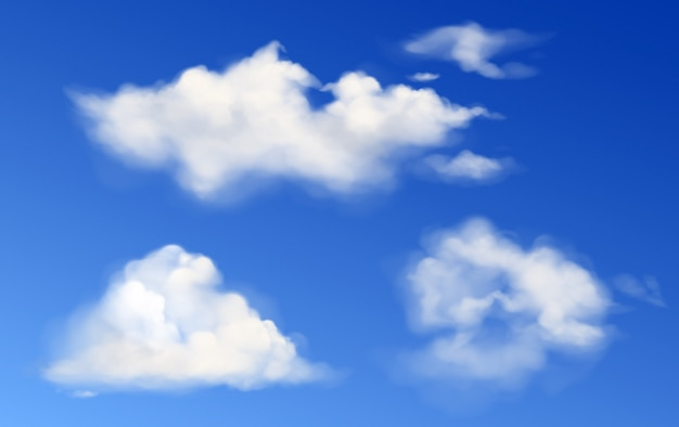Vector witte pluizige wolken in blauwe hemel