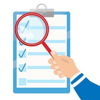 Vector zakelijk contract en vergrootglas. checklist platte pictogram. document analyseren