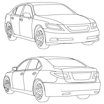 Vector zakelijke auto illustratie twee weergave