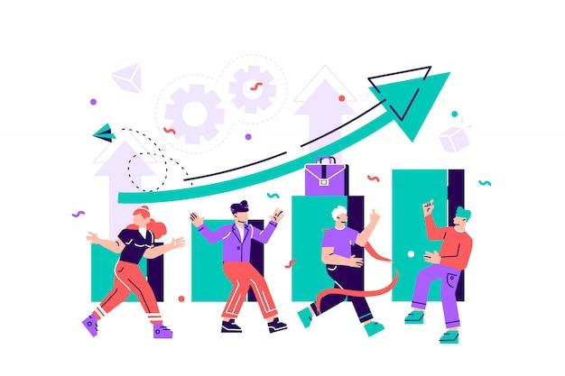 Vector zakelijke illustratie, leiderschapskwaliteiten in een creatief team, richting naar een succesvol pad, het overwinnen van obstakels op weg naar succes, hoog werkniveau, het team verheugt zich over de winnaar
