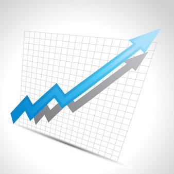 Vector zakelijke pijl met groei vooruitgang