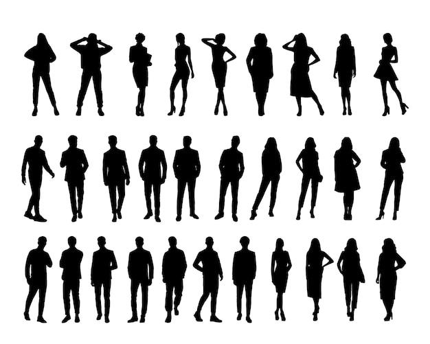 Vector zakenman silhouetset van silhouetten van zakenmensenvector zwarte geïsoleerde achtergrond