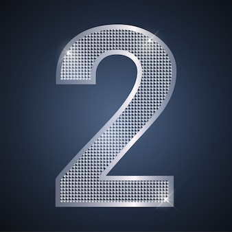 Vector zilver nummer twee shining nummer 2 voor de tweede verjaardag of jubileumviering