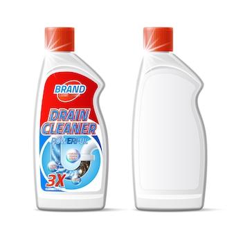Vector zilveren afvoerpijpreiniger fles product