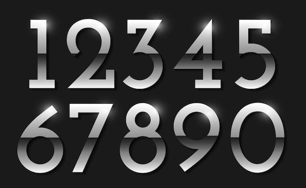 Vector zilveren nummers instellen