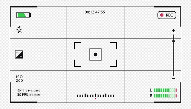 Vector zoeker sjabloon record frame geïsoleerd op transparante achtergrond nacht camera militaire