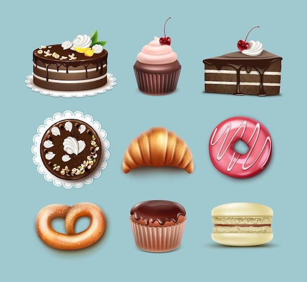 Vector zoetwaren set chocolade bladerdeeg cake, franse croissant, krakeling, cupcake met slagroom en kersen, muffin, macaron top, zijaanzicht geïsoleerd op blauwe achtergrond