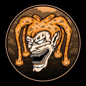 Vector zombie clown hoofd. premium vector